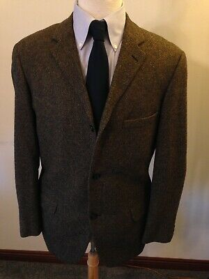 Men's 1960s 60s Carl Holten Denmark Brown Tweed 3/2 Roll Sport Coat-40R-Trad Ivy