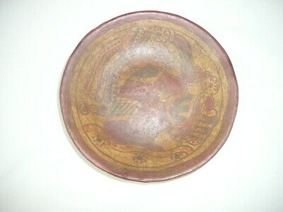 Ancient Mayan Clay plate polychrome colors w/ COA