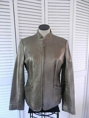 Bernardo women's metallic bronze color genuine leather full zip jacket, Size: S