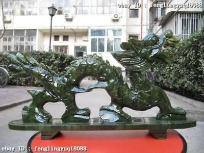 8 Chinese exquisite Green Jade Fengshui Lucky Wealth Carved Fly Dragon Statue