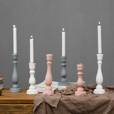 2pcs Shabby Chic White&Pink Candle Stick Wooden Pillar Candle Holder 18.5cm