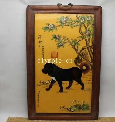 24'' chinese porcelain painting handwork drawing plum blossom flower dog mural