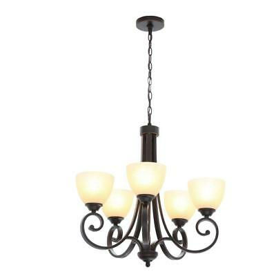 Hampton Bay Renae 5-Light Oil Rubbed Bronze Chandelier with Amber Glass Shades