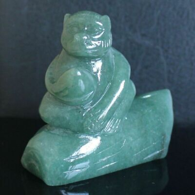 g3984  65mm Hand carved natural green aventurine monkey peach figurine carving