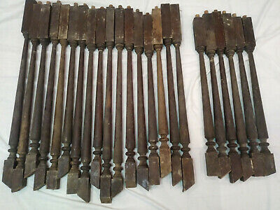 23 Antique Stair Turned Spindle Baluster Vintage Architectural Original Finish