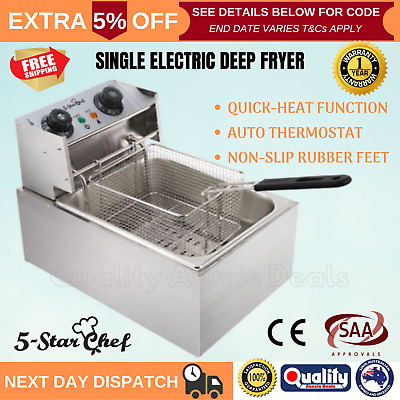 New Deep Fryer Commercial Electric Oil 10L Stainless Steel Basket Frying Cooker