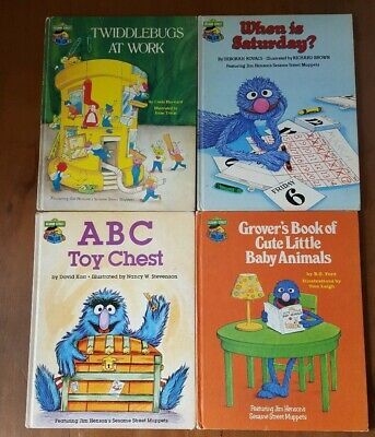 4 Books Sesame Street Book Club Grover Muppets Twiddlebugs ABC