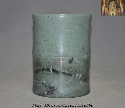 """6"""" Collect Chinese Old Jade Hand-Carved Calligraphy tool brush pot pencil vase"""