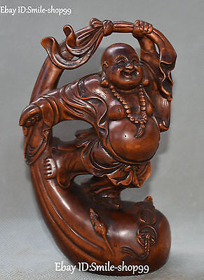 Chinese Boxwood Wood Carved Happy Laugh Maitreya Buddha Money Bag Coin Statue