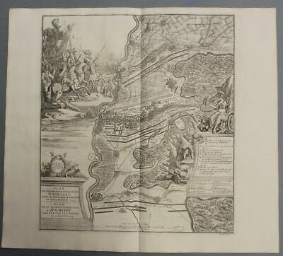 Battle Of Blenheim (Höchstâdt) Germany 1729 Dumont Unusual Antique City Map