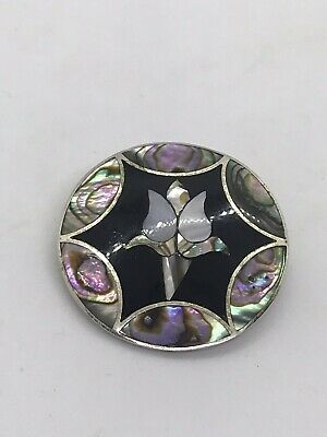Alpaca Silver Mexican Brooch Abalone Tulip MOP Vintage Pin Pendant Shell Inlay