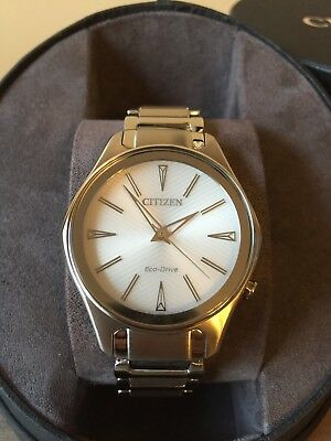 NWT Citizen Modena Silver Stainless Steel Women's Eco Drive Watch EM0590-54A