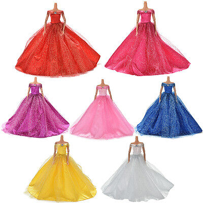 Wedding Dress For Barby Doll Beautiful Trailing Skirt 7 Colors Amazing DressF Ic