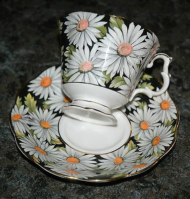SYLVIA Royal Albert TEA CUP & SAUCER Set Black with White Daisies Floral Flowers
