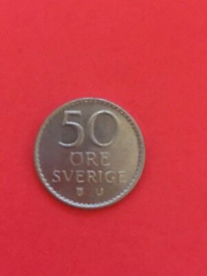Beautiful 1973 Swedish 50 Ore Sverige Coin