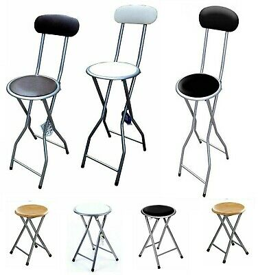 Padded Wood Top Folding High Chair Breakfast Kitchen Bar Stool Seat Kitchen Home
