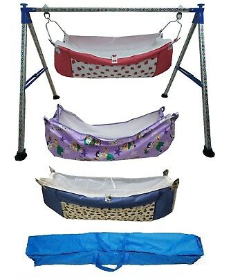 Traditional Designer folding baby cradle highly durable with 3 units of hammocks