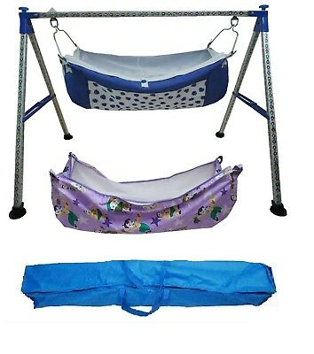 Traditional Designer folding baby cradle highly durable with 2 units of hammocks