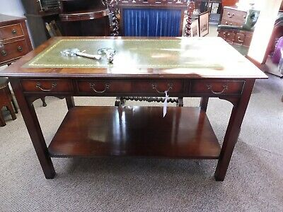 Early 1900s Mahogany Tooled Leather Writing Table/ Desk