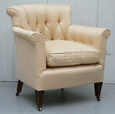 Lovely Period Victorian Chesterfield Buttoned Fabric Upholstered Tub Armchair