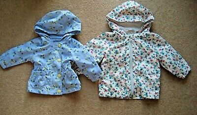Baby Girls Floral Raincoat Blue Age 0-3 Months or White Age 6-9 Months