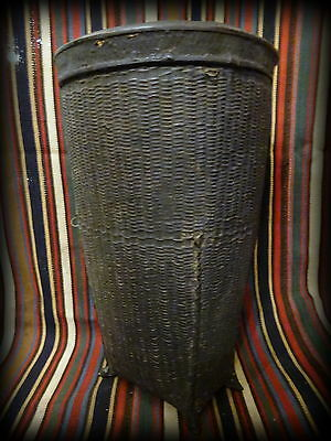 Antique 19th Century Burma Burmese Woven Rice Carrying Basket Container with Lid
