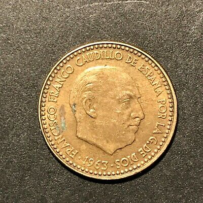 1963 Spain 1 Peseta coin, Good condition