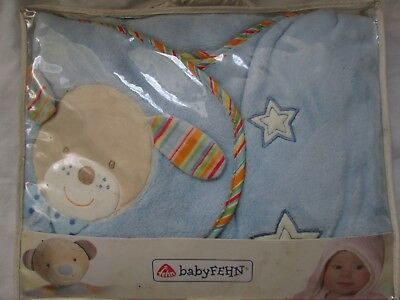 Baby Fehn Babies Baby Blue Teddy Design Hooded Bath Towel Swaddle Blanket Robe