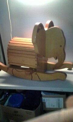 Vintage 30 Year Old Solid Oak Toddlers Rocking Elephant , Will Last Forever !