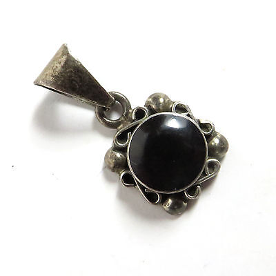 Vintage Mexico Sterling Silver Pendant With Black Stone Center Onyx? Jet? Glass?