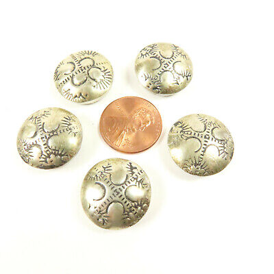 Vintage Sterling Button Covers Native American Indian Design Set Of Five