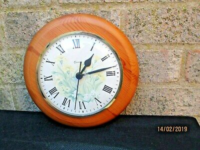 Old Decorative Summer Flower Pine Surround Wall Clock