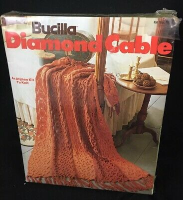 Vtg Bucilla Knitted Diamond Cable Afghan Kit # 7936 New in Box