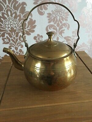 Large Vintage Brass teapot kettle with swivel handle from 1950s Collectable