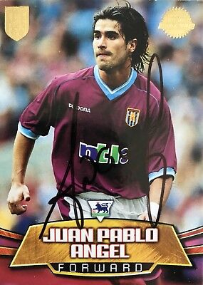 Juan Pablo Angel HAND SIGNED Aston Villa Topps Authentic Trade Card *In Person*