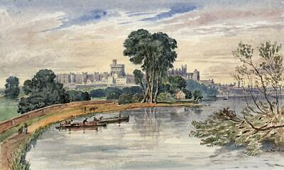 WINDSOR CASTLE FROM RIVER Small Victorian Watercolour Painting 19TH CENTURY
