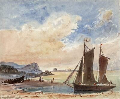 BOAT ON COAST POSSIBLY WALES? Small Victorian Watercolour Painting 19TH CENTURY