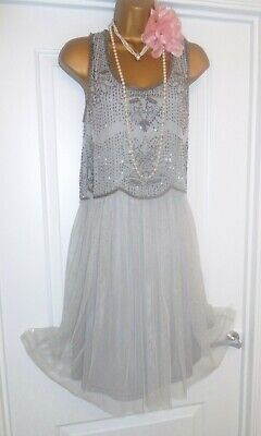 Vintage 1920s Style Gatsby Flapper Charleston Beaded Sequin Dress Size 12 NEW