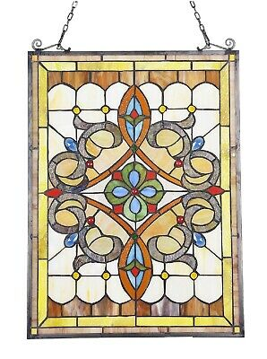"""24.6"""" x 17.7"""" Timeless Victorian Tiffany Style Stained Glass Window Panel"""