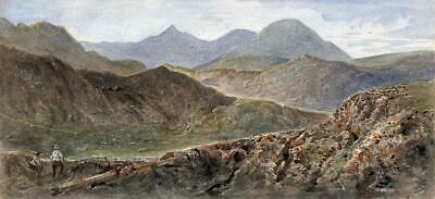 MINERS IN LANDSCAPE SNOWDONIA WALES Victorian Watercolour Painting 19TH CENTURY