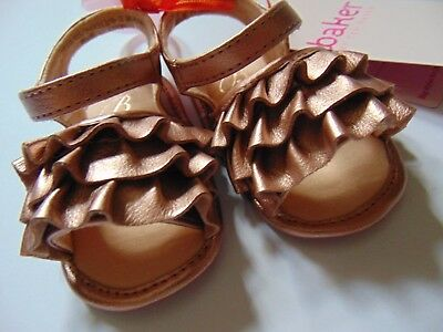 Ted Baker Baby Girls Pink Gold Soft Leather Frill Shoes 0-3Months & 3-6Months