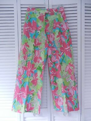 Lilly Pulitzer women's parrot print wide leg summer cotton pants, Size: 2