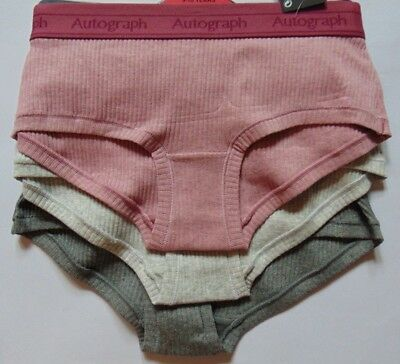 Autograph Girls Pack of 3 Shorts Knickers Super Soft Cotton Age 6-7,7-8,8-9,9-10