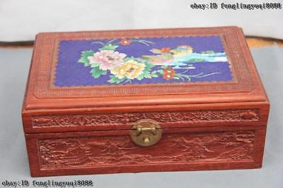 Chinese Mahogany inlay Cloisonne Enamel Mandarin Duck Peony flower Jewelry box