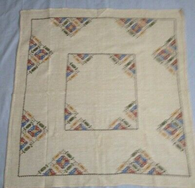 Antique Swedish Handmade Embroidered Table Cloth with 6 Matching Napkins