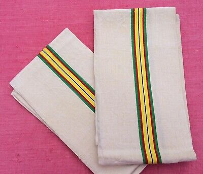 Pair Unused Vintage French Linen Metis Tea Towels Green Red Yellow Stripes