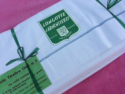 Unused Pair Vintage French Sheets Classic Ladder Stich Hem Pure Cotton 220 X 310