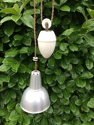 Vintage French Rise & Fall Lighting Pulley Aluminium Shade & Ceramic Rose