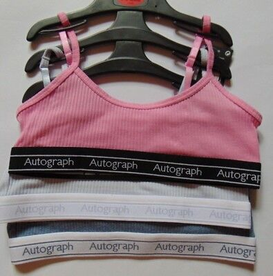 Autograph Girls Pack of 3 Crop Tops Super Soft Cotton  Age 9-10 Pink Mix