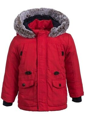 Ex UK Chainstore Baby Boys Thick Padded Jacket, Faux Fur Trim Hood, Fleece Lined